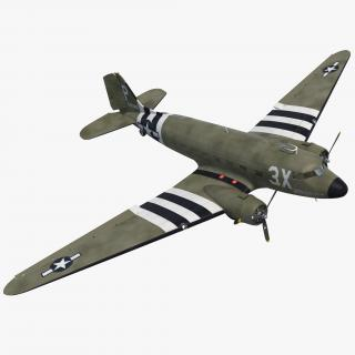 Douglas DC-3 Rigged 3D model