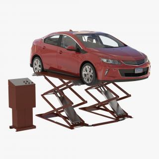 3D Automotive Scissor Lift Generic Rigged and Hybrid Car model