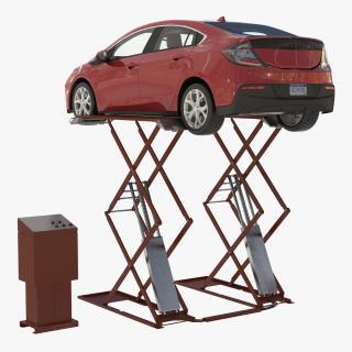 3D Automotive Scissor Lift Generic and Hybrid Car