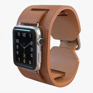Apple Watch Hermes Cuff 42mm Stainless Steel Case Leather Band 3D