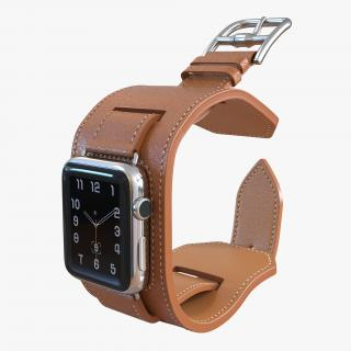 Apple Watch Hermes Cuff 42mm Stainless Steel Case Leather Band 2 3D model