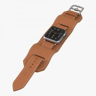 Apple Watch Hermes Cuff 42mm Stainless Steel Case Leather Band 3 3D model
