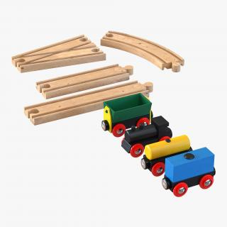 3D Wooden Toy Train With Track Set