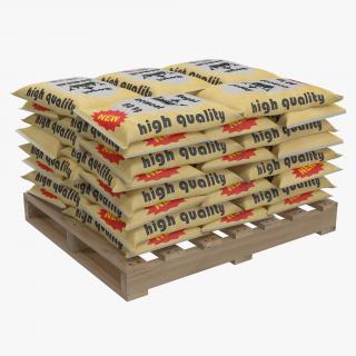 3D Pallet of Cement Bags 2 model