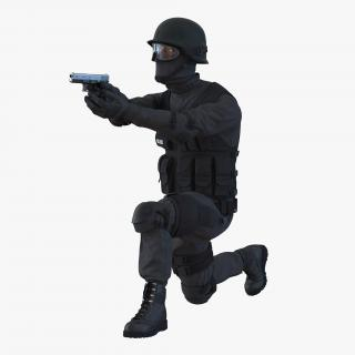 SWAT Man Afro American Rigged 3D model