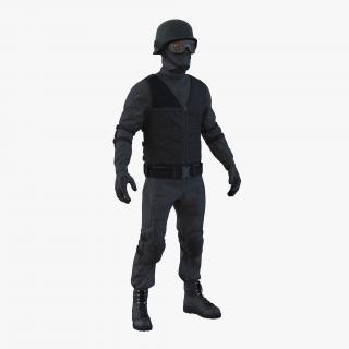3D SWAT Man Afro American Rigged 2