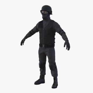 SWAT Man Afro American 2 3D model