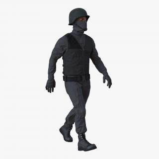 3D SWAT Man Afro American Rigged 3