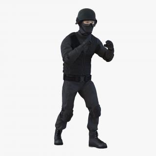 3D SWAT Man Asian Rigged 2 model