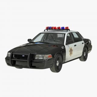 3D Ford Crown Victoria Police Car Simple Interior