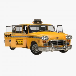 3D Old NYC Checker Cab Rigged