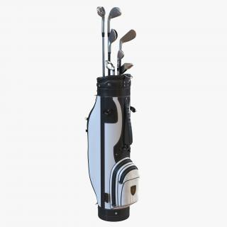 3D Golf Bag and Clubs 3 Black