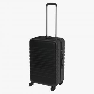 3D Plastic Trolley Luggage Bag Black model