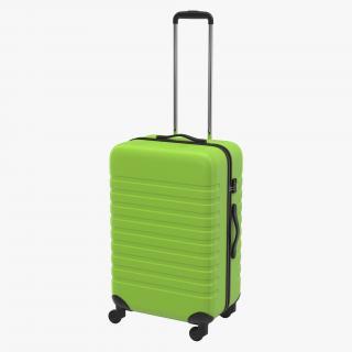 3D Plastic Trolley Luggage Bag Green model