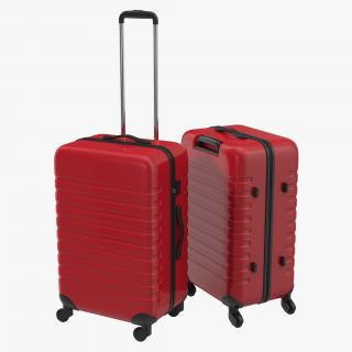 3D Plastic Trolley Luggage Bag Red