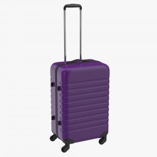 Plastic Trolley Luggage Bag Violet 3D model