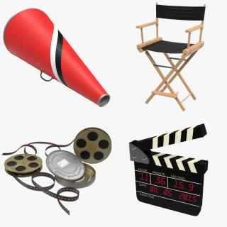 3D Director Chair and Accessories Collection 4 model