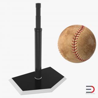 Baseball Batting Tee and Ball 3D model