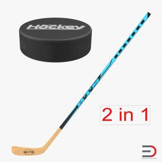 3D Hockey Stick and Puck