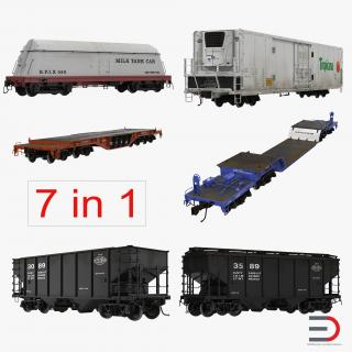 3D model Railroad Industrial Cars Collection
