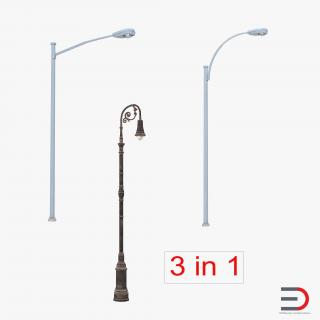 3D Street Lamps Collection model