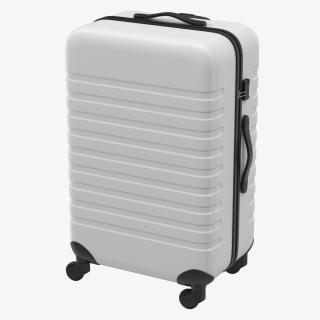 3D Plastic Trolley Luggage Bag White model