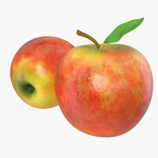 Apple Fruit With Green Leaf 3D