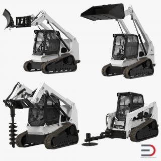 3D Compact Tracked Loaders Rigged Collection