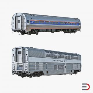 Railroad Passenger Cars Collection 3D model