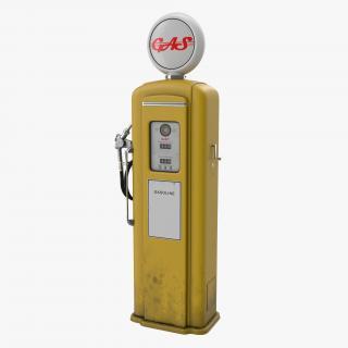 3D Retro Gas Pump Yellow