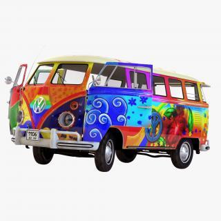 3D Volkswagen Type 2 Hippie Rigged