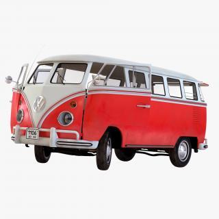 3D Volkswagen Type 2 Red Rigged model