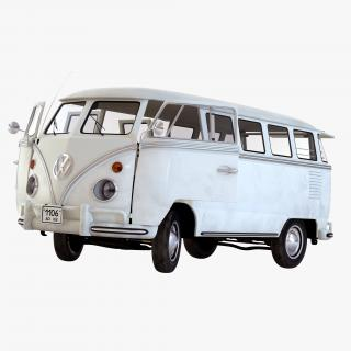 3D model Volkswagen Type 2 White Rigged