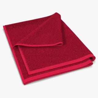 3D model Towel 4 Red with Fur