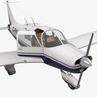 Light Aircraft Piper PA-28 Cherokee Rigged 2 3D model