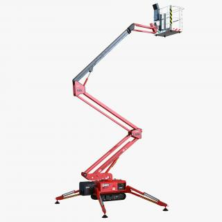 3D Telescopic Boom Lift Red Rigged