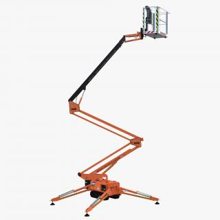 Telescopic Boom Lift Orange Rigged 3D model