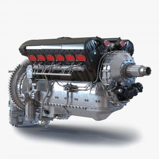 Old Piston Aero Engine 3D