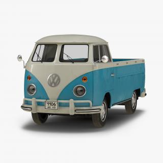 Volkswagen Type-2 Single Cab Pick-Up Simple Interior Blue 2 3D model