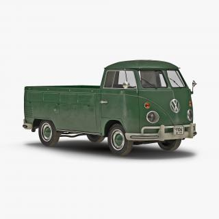 3D model Volkswagen Type-2 Single Cab Pick-Up Simple Interior Green 2