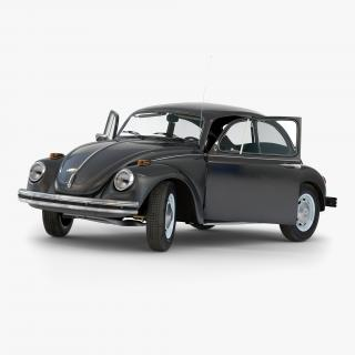 3D model Volkswagen Beetle 1966 Rigged Black