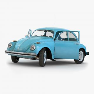 Volkswagen Beetle 1966 Rigged Blue 3D model