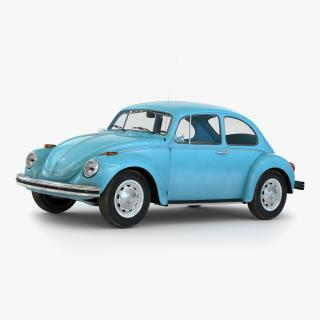 3D Volkswagen Beetle 1966 Simple Interior Blue model