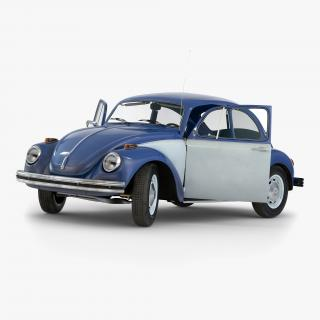 3D Volkswagen Beetle 1966 Rigged Blue 2
