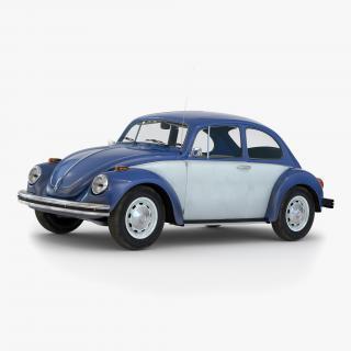 3D model Volkswagen Beetle 1966 Simple Interior Blue 2
