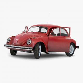 3D Volkswagen Beetle 1966 Rigged Red model