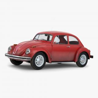 Volkswagen Beetle 1966 Simple Interior Red 3D
