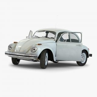 3D model Volkswagen Beetle 1966 Rigged White