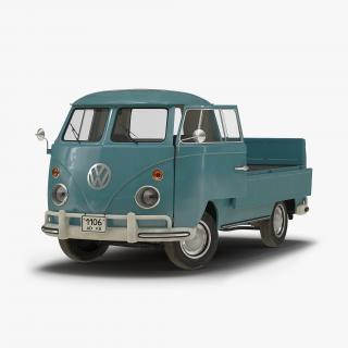 3D Volkswagen Type 2 Single Cab Pick Up Rigged Blue model