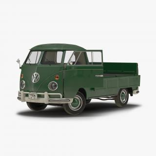 3D Volkswagen Type 2 Single Cab Pick Up Rigged Green 2